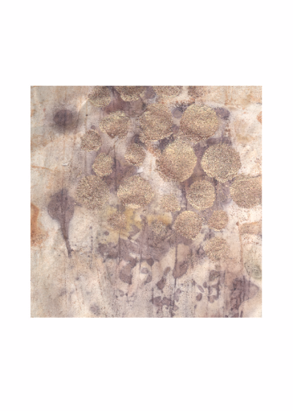 'Bronze age' eco print with stencilling by Rita Summers