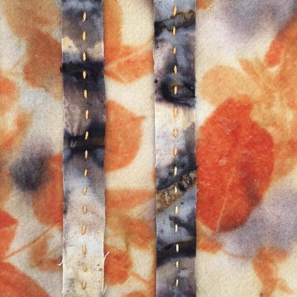Eco printed merino and silk scarf, detail - Rita Summers
