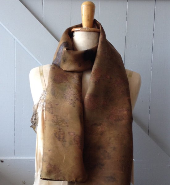 Eco dyed silk scarf by Rita Summers