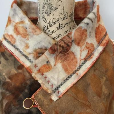 Eco printed upcycled vest, detail - by Rita Summers