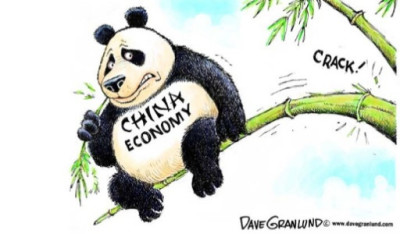 "alt=""Chinese Economy Cartoon of Panda Sitting on Branch About to Snap"""