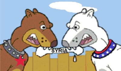"alt=""Russia, USA and Syria - two pit bulls and the bone"""