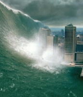 "alt=""Tsunami coming across major city"""