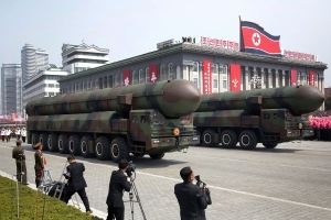 "alt=""North Korea displays new ballistic missile but it fails at launch test"""