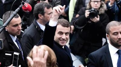 "alt=""Macron wins first round of French election"""