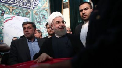 "alt=""Iran Rouhani wins re-election"""