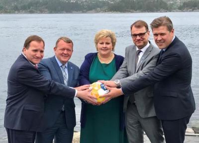 "alt=""Nordic PMs poke fun at Trump"""