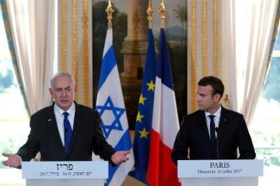 "alt=""Israel's Netanyahu tells Macron of doubts about U.S. peace push"""