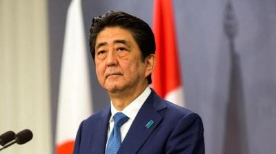 "alt=""Japan Defense Minister resigning amid PM Abe's plunging approval ratings"""