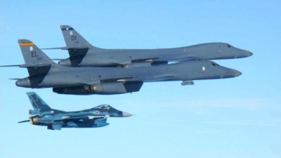 "alt=""U.S. bombers fly over South Korea after North's 2nd ICBM test"""