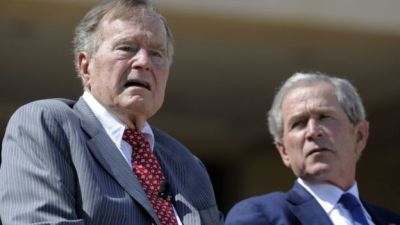 "alt=""Bush presidents wade into Trump furore over Charlottesville"""