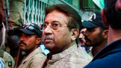 "alt=""Ex-Pakistan president Musharraf declared fugitive in Bhutto assassination case"""