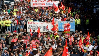 "alt=""Macron's labour reforms face protests across France"""