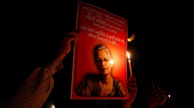 "alt=""Assassination of journalist-activist Gauri Lankesh was celebrated by Hindu nationalists"""