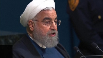 "alt=""Iran's leader Hassan Rouhani slams Donald Trump in UN speech"""