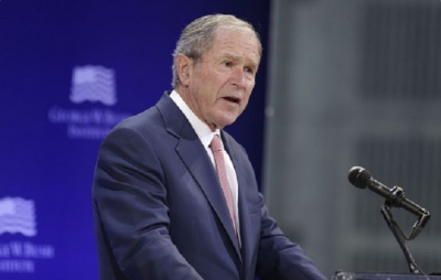 "alt=""George W. Bush Launches Barely Veiled Rebuke of Trump's Presidency"""