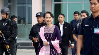 "alt=""Rohingya crisis: Myanmar's Suu Kyi visits troubled Rakhine"""