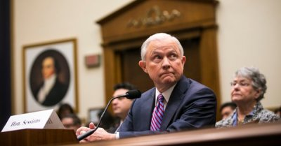 "alt=""Jeff Sessions Denies Lying to Congress on Contacts With Russia"""