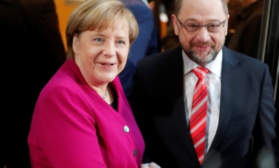 "alt=""Merkel optimistic at start of government talks with Social Democrats"""