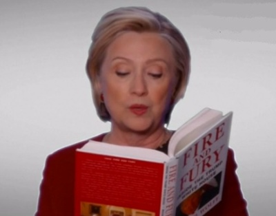 "alt=""Hillary Clinton surprises with Grammy 'Fire and Fury' spoof"""