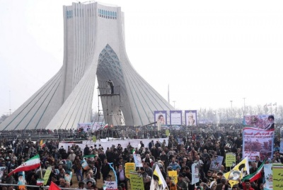 "alt=""Hundreds of thousands rally in Iran against Trump, chant 'Death to America'"""