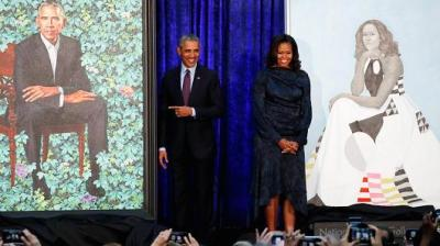 "alt=""Barack and Michelle Obama portraits unveiled at National Portrait Gallery"""