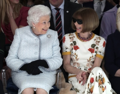 "alt=""Queen Elizabeth II makes first visit to London Fashion Week"""