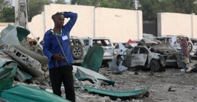 "alt=""Death toll from Somalia blasts rises to 45: government official"""