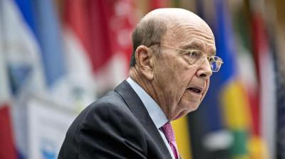 "alt=""Trump says Commerce Secretary Ross will speak with EU about eliminating tariffs against US"""