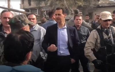 """alt=""""Syria war: President Assad's frontline visit"""""""