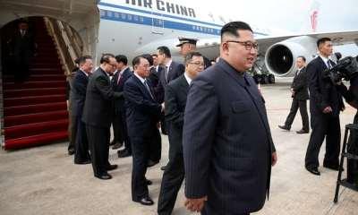"alt=""Donald Trump arrives in Singapore for Kim Jong-un summit"""