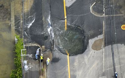 "alt=""Magnitude 6.1 earthquake kills 3 people, shutters factories in Japan's Osaka"""