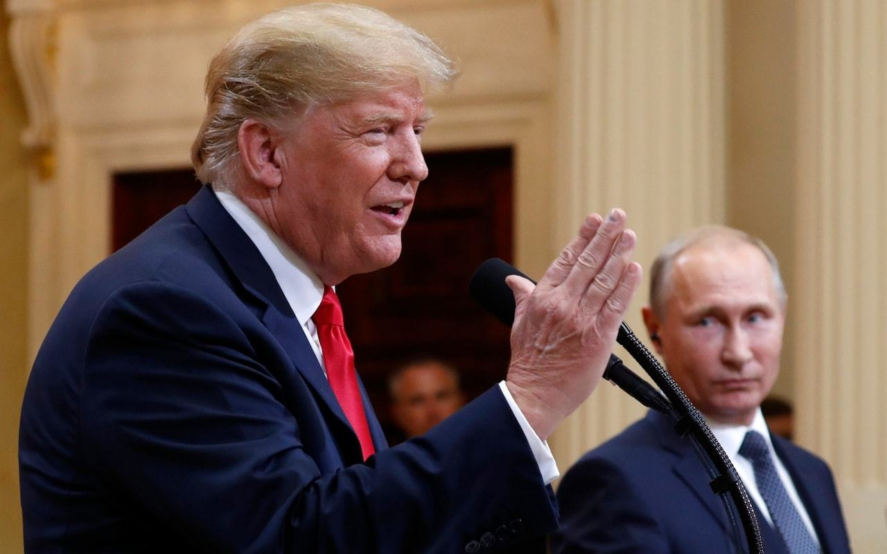 """alt=""""Trump in new Russian election meddling row after appearing to say US no longer being targeted"""""""