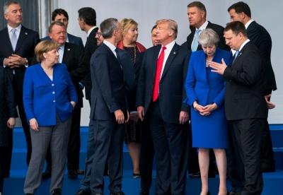 "alt=""Trump jabs allies at start of NATO summit NATO Summit - Pushes Allies to Increase Spending"""