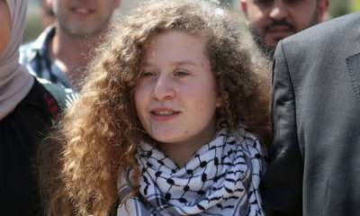 "alt=""Palestinian teenager Ahed Tamimi released from prison"""