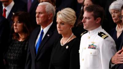 "alt=""Country owes 'a debt of honour & respect' to McCain, Pence says at memorial"""