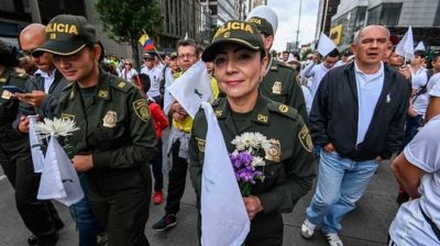 "alt=""Colombia protest: Thousands march for peace after cadet killings"""