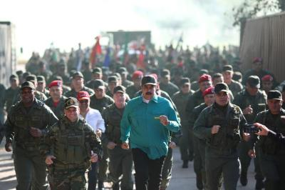 "alt=""As West turns on him, Venezuela's Maduro flexes military muscle"""