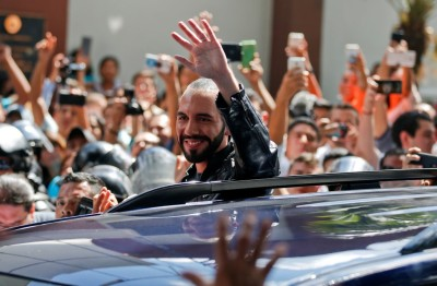 "alt=""Nayib Bukele, an Outsider Candidate, Claims Victory in El Salvador Election"""