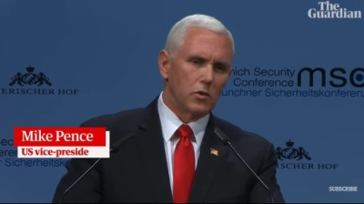 """alt=""""Pence hails 'remarkable, extraordinary' Trump tenure in attack on US allies"""""""