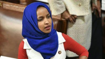 "alt=""Ilhan Omar condemns 'anti-Muslim' poster at Republican event"""