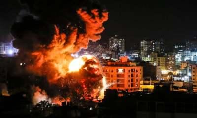 "alt=""Israeli military bombs Gaza after rocket strike"""