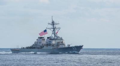 "alt=""Two U.S. Navy warships sail through strategic Taiwan Strait"""