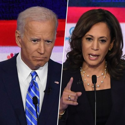 "alt=""Democratic debate: Joe Biden criticised for race record"""