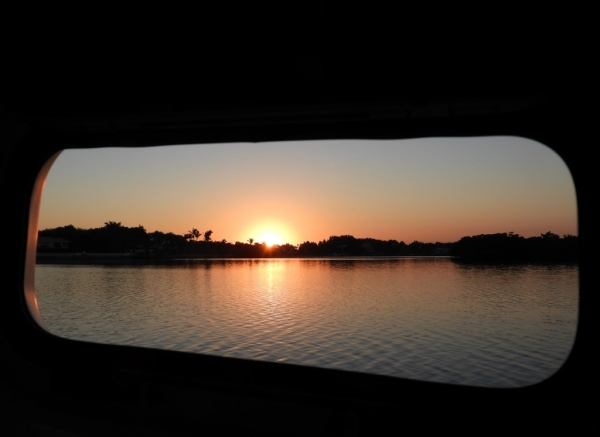 Sunrise from cabin port.