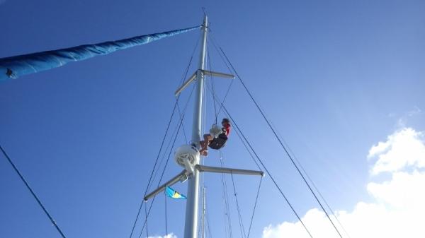 Agnes Hanging the Radar Reflector