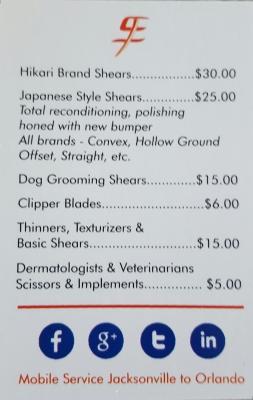 price list for scissors sharpening