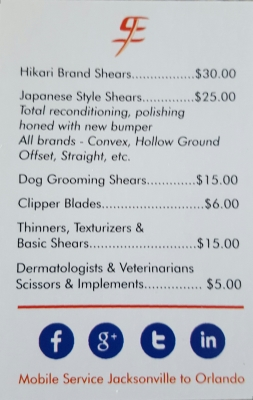 price list for scissors sharpening