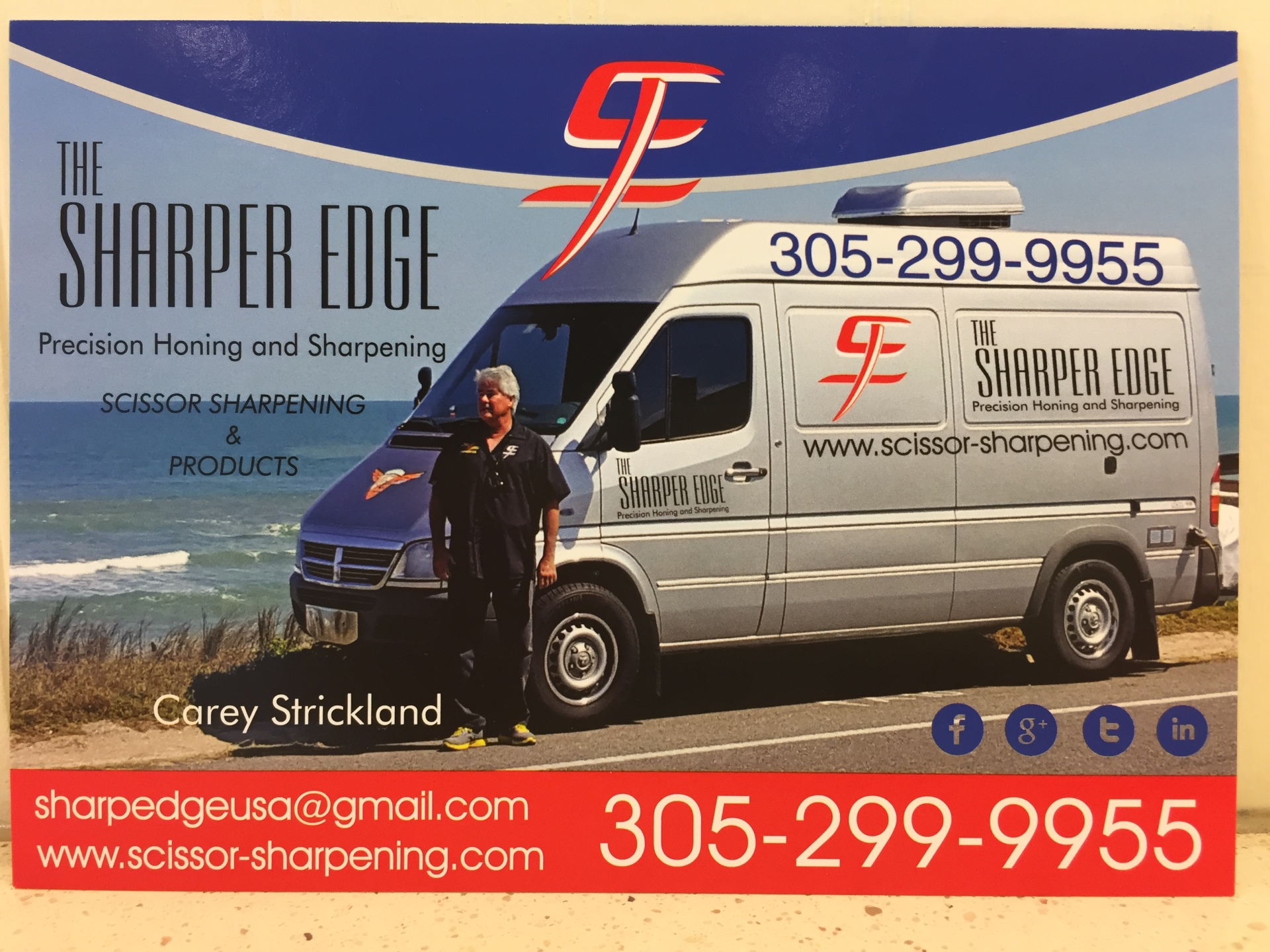 Sharper Edge Mobile van with Carey Strickland