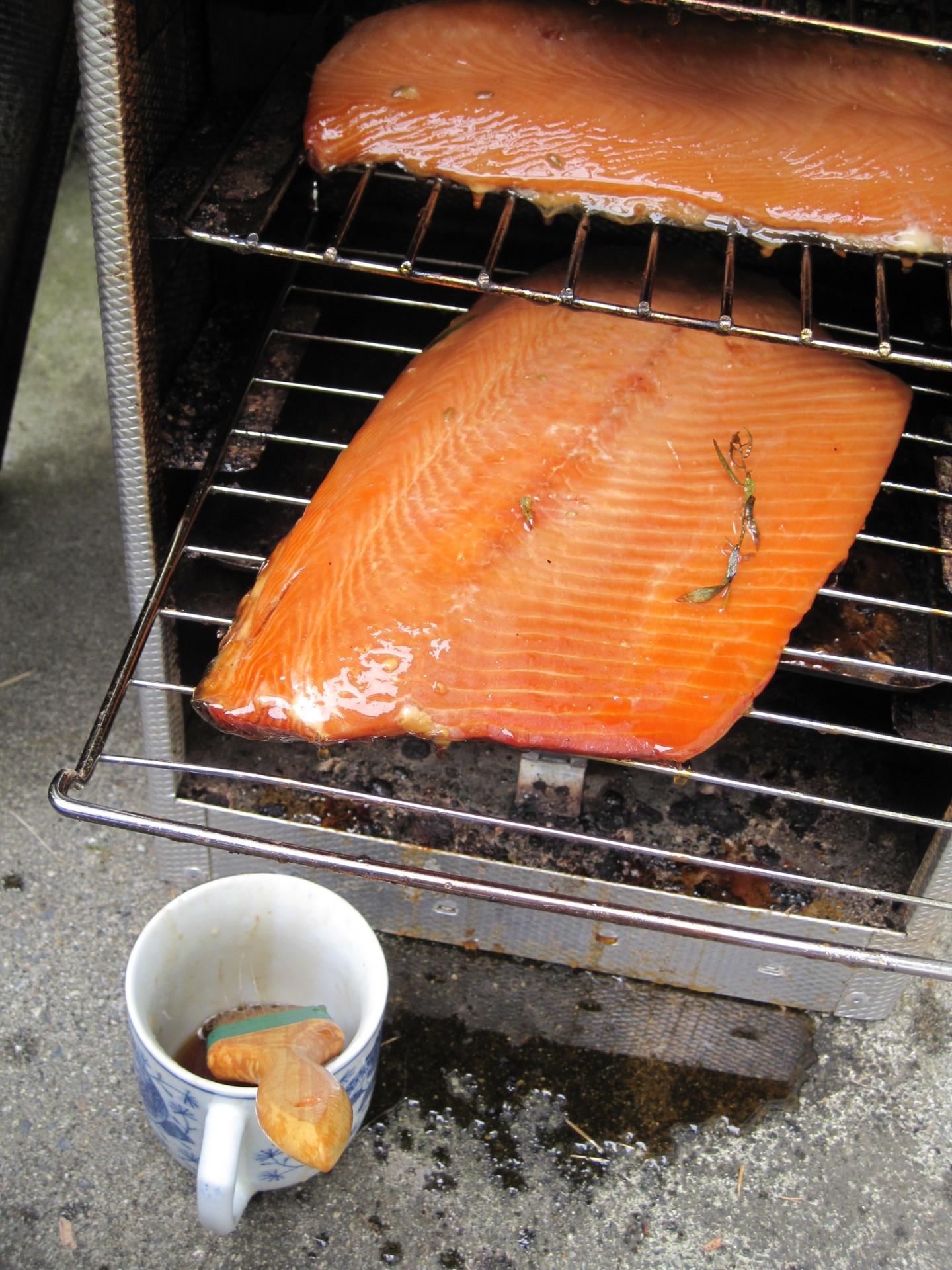 smoking salmon at Nootka Gold